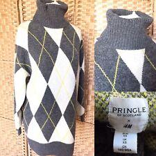 """PRINGLE x H & M Grey Argyle Knit POLO NECK Long Jumper XS L32"""" 8-12 OVERSIZED"""