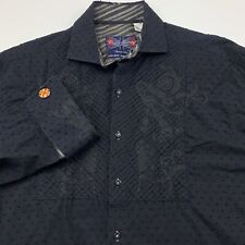 English Laundry XL Mens Hand Sewn Ruffled Detail Embroidered Polka Dot Black EUC