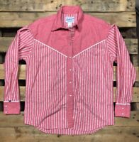 Rockmount Ranch Wear Mens M Women's L Shirt western Rodeo Cowboy VTG Pink Snap