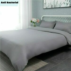 Plain Microfibre Bedding Set Quilt Cover With Pillow Case Single Double King