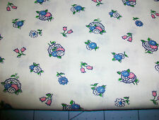 """VINTAGE PINK & BLUE FLOWERS ON WHITE COTTON QUILT FABRIC - 46"""" x 36"""""""