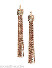 "Paige Novick ""Buenos Aires"" Gold Tassel Fringe Earrings Sparklin Clear Crystals"