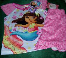 Dora the Explorer Pink Mermaid Short 2 Piece Pajamas Set Toddler Girls 3T NWT