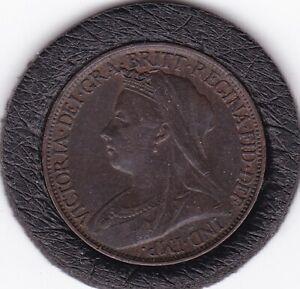Sharp   1900  Queen  Victoria   Farthing   Bronze  Coin