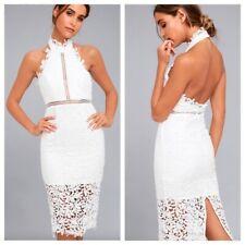 Lulu's Divine Destiny White Lace Midi Dress NWOT Small Halter Open Back Dress