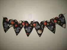 Autumn Grey Squirrel fabric hearts  Garland 20 in. Fall Country Home Decor