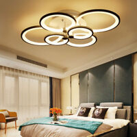 Modern 6-Rings LED Ceiling Light Fixtures Flush Mounted Acrylic Chandelier Lamps
