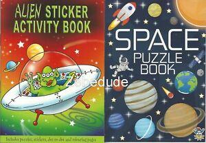 Set 2 x Children's Space Alien Colouring Puzzle Book Stickers Activity Kids