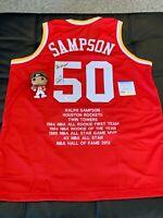 Ralph Sampson Signed Career Highlight Stat Houston Rockets Jersey PSA COA