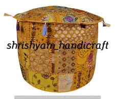 "18"" Bohemian Patchwork Pouf Cover Ottoman Ethnic Decor Indian Pouffe Footstool"