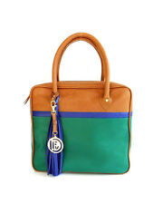 COLOR BLOCK SHOULDER BAG COGNAC GREEN BLUE LEATHER TASSEL MEDIUM, DFV, SATCHEL