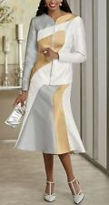 Ashro Andi Brooklyn Skirt Suit NWT size 14 Zipper Front Jacket Gold Silver White