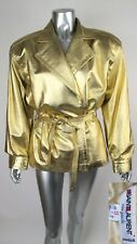 100% Auth Vintage YSL YVES SAINT LAURENT RIVE GAUCHE Metallic Gold Belted Jacket