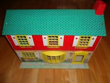 Vtg Wolverine 2 Story Colonial Tin Litho Metal Dollhouse & 34 Pieces Furniture