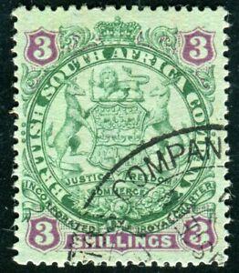 BRITISCH SÜDAFRIKA COMPANY 1896 35I gestempelt 3 SHILLING (D9663
