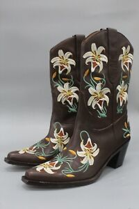 Sam Edelman Limited Edition Lily Brown Leather Embroidered Boots Size 7.5