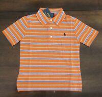 NWT Ralph Lauren Boys S/S Orange Striped Cotton Jersey Polo Shirt 18/20 NEW $40