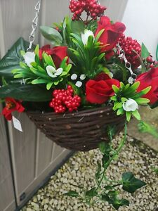 Xmas Poinsttia / Lilly/rose/berries hanging basket artificial treated