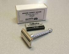 Vintage NOS British Gillette Spiral TECH DE Safety Razor England V-1 Clay Adams