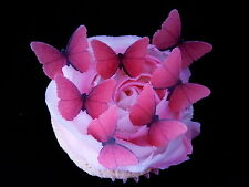 30 PRE-CUT HOT PINK BUTTERFLIES SMALL EDIBLE RICE WAFER PAPER CUP CAKE TOPPERS