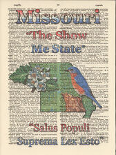 Missouri State Map Symbols Altered Art Print Upcycled Vintage Dictionary Page