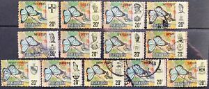 Malaysia 1971 Butterflies Definitive 20c Complete 13 states Used