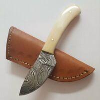 New Bone Handle Full Tang Damascus Blade Skinner Knife with Leather Sheath