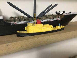N Scale Waterline tugboat 80 feet 3 d print Unpainted. Ship model tug boat