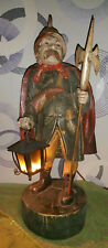 Antique Vintage Black Forest HandCarved Wood German Nightwatcher Lamp