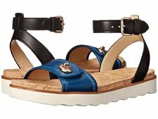 NIB COACH Sahara Sandals  DENIM/Black Ankle Strap $145 Turnlock Sandal Sz 6