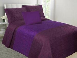 Velvet Embossed Bedspread Soft Quilt 4-Piece Multi-Tone Bed Set - Plum & Purple