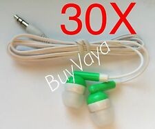 30x  Disposable head Phones Or Ear Buds green Color  Stereo Sound Good Quality