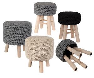 Sitzhocker Strickhocker Pouf Hocker Beistelltisch Holz Strick Natur