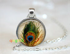 Indian Bird Feather Glass dome Tibet silver Chain Pendant Necklace wholesale