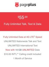 Page Plus 3 IN 1 -  4G LTE SimCard + $55 Plan Month Unlimited 4G LTE DATA