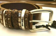 JUST CAVALLI(multi loops)leather belt in brown (100) 46.5 inches long