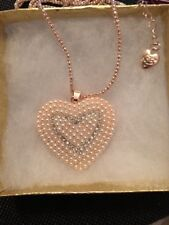 Betsey Johnson Necklace HEART PEARL  Gold Crystal  WORLD LOVE GIFT BOX