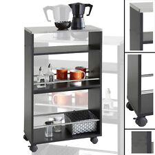 Küchenwagen SCHWARZ #84 Holz Metall Edelstahl Küchenschrank Teewagen Rollwagen