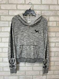 victoria secret pink bling full zip hoodie size large