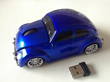 3D USB  Wireless Volkswagen VW beetle car optical mouse Mice 3D PC/Laptop Blue