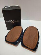 Q4 Yosi Samra SAMARA Foldable Deep Navy Blue Leather Ballet Flats Shoes Size 8M