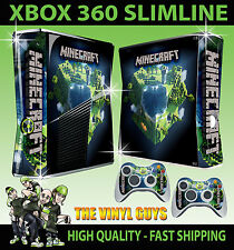 XBOX 360 SLIM STICKER bloc de construction planet steve kit graphique peau & 2 pad skins