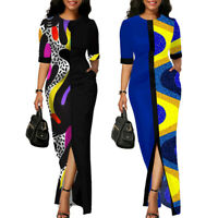 Womens Summer Casual Long Maxi Patchwork Split Dress Party Cocktail Work Dresses