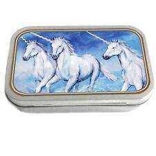 Unicorns Design Slim Hinged 1oz Tin Tobacco Storage Pill Box Fishing Jewellery
