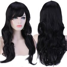 Full Wig Long Thick Hair Wig Natural Brown Blonde Black White Gray Hair Costume