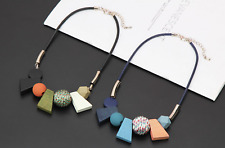 Geometric Chunky Wood Fabric Statement Necklace, Sky Royal Blue/ Green Coral
