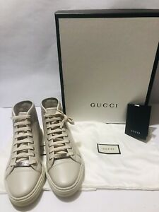 GUCCI High Top Sneakers MIRO'SOFT MYSTIC WHITE/TAN LEATHER SIZE 6 AUTHENTIC NIB