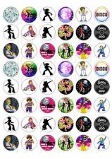 48 MINI DISCO CUPCAKE TOPPER WAFER RICE EDIBLE FAIRY CAKE  TOPPERS