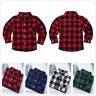 Kids Boys Girls Plaid Flannel Check Shirts Button Down Cotton Blouse Top 1-10Y