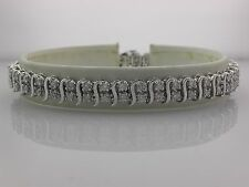"14 Karat white Gold Double row diamond Bracelet with s spacers  7 1/4"" 0140016"